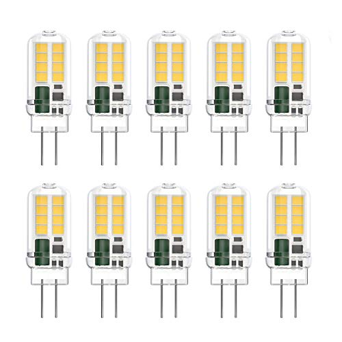 Klighten G4 LED Lampen, 3W 350LM G4 LED Birnen ersetzt 20W Halogenlampen, Nicht Dimmbar G4 LED Leuchtmittel, Kein Flackern, AC/DC 12V, Neutralweiß 4000K, 10er Pack