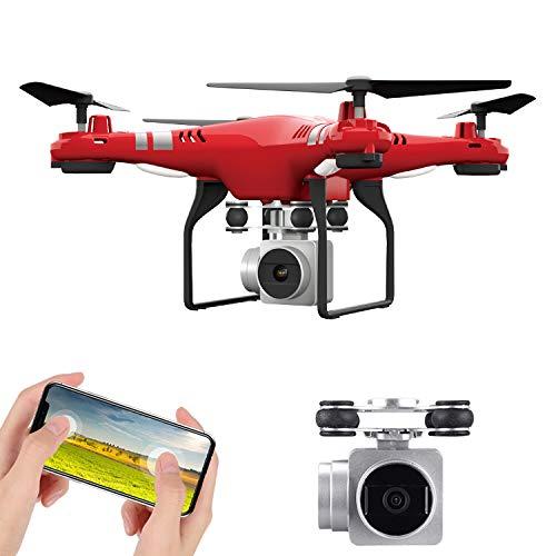PsgWXL Drone FPV 720P/1080P Droni Tascabile con Telecamera HD Live Sistema di Stabilizzazione Quadricottero Remoto con Controllo Automatico Dell\'altezza,Rosso,Standard