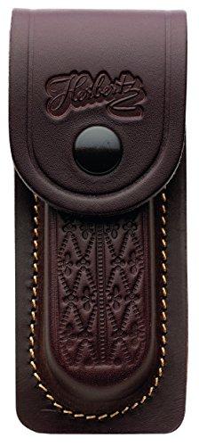 Herbertz, 2652110 Lederetui-braun geprägt-für Heftlänge 11 cm, Edelstahl, Mehrfarbig, Medium