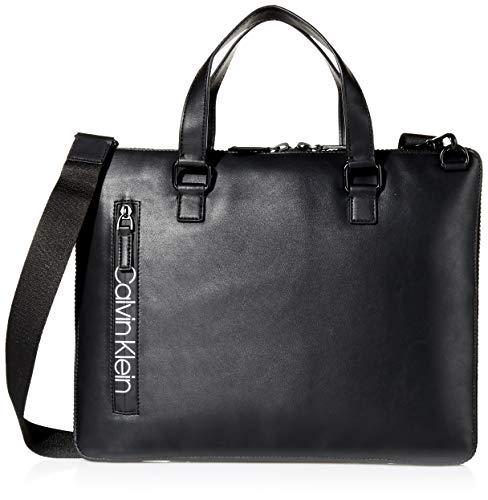 Calvin Klein Mens Slim Attache Briefcase BlackMatte Black One Size
