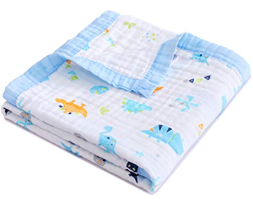 Jay & Ava Baby Muslin Blanket, Organic Cotton, 4 Layers, Soft, Hypoallergenic, Breathable Quilt, Nursery & Crib Blanket, Stroller Blanket for Toddler, Perfect (Blue Dino)
