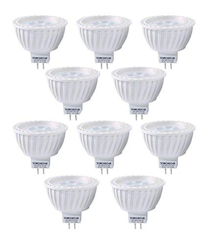 10pcs Pack AC/DC 12V 5W MR16 LED Bulb - 50W Equivalent 2700K Warm White LED Spotlight - 320 Lumen 36 Degree Beam Angle GU5.3 Base for Home, Recessed, Accent, Landscape, Track Lighting