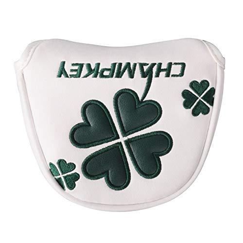 ヘッドカバー パターカバー マレット用 オデッセイ2ボール・テーラーメイド スパイダーパターに対応 クローバー模様 白 緑 円形 (白)