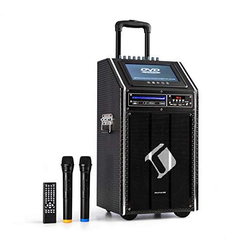 AUNA DisGo Box 100 DVD - Sistema mobile PA, 300 W max, Display TFT da 9', DVD, Bluetooth, Maniglia Trolley, 2 Microfoni Wireless, Nero