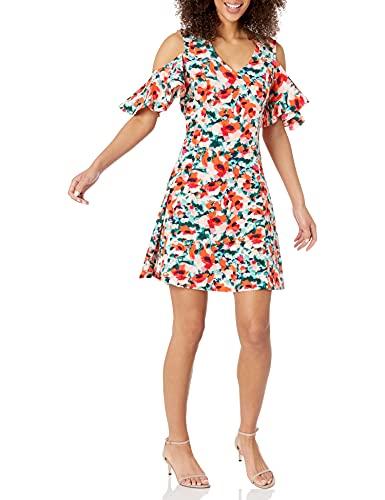 Lark & Ro Women's Short Sleeve Cold Shoulder A-Line Dress, Watercolor Floral, Large