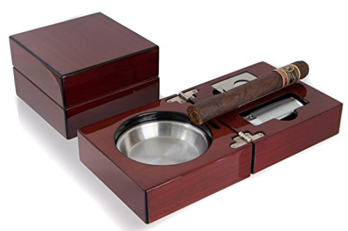 Mantello Cigar Ashtray Gift Set - High-Gloss Cherry Finish Wooden Travel Case - Stainless Steel Holder, Jet Torch Lighter, and Guillotine Cutter for Up to 54 Ring Gauge Cigars - Perfect for Travel