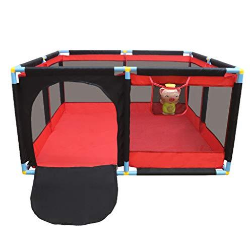 WAKTN Baby Park Kleinkind Zaun, schnelle Installation, geeignet für Neugeborene/Kleinkinder/Kinder Großer Indoor-Spielplatz (rot)