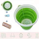 Mini lavadora turbo, ultrasónica turbo con tambor plegable, enchufe USB 2 en 1, apto para camping, apartamento, viaje, mini lavadora turbo (verde)