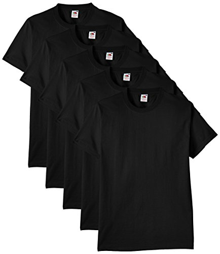Fruit of the Loom Herren Regular Fit T-Shirt Heavy Cotton Tee Shirt 5 pack, Schwarz (Black), L