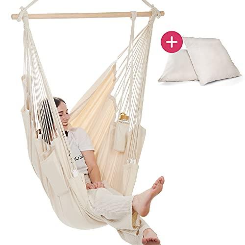 NearDistance Hängesessel - perfekt zum Abschalten, Entspannen & Wohlfühlen - mit Fußablage & Kissen - Indoor Schaukel für Kinder & Erwachsene (beige)