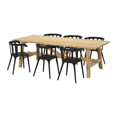 IKEA Table and 6 Chairs, Oak, Black 20204.11523.382