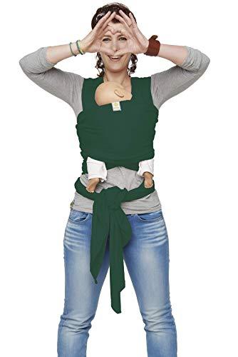 ByKay Stretchy Wrap Deluxe dehnbares & ergonomisches Tragetuch | Bauch- & Hüfttrage ausgezeichnet geeignet für Neugeborene | versch. Farben | Öko-Tex-Zertifiziert | Onesize bis ca. 18 kg (Green)