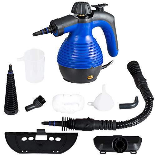 COSTWAY Dampfreiniger inkl. 9 Zubehörteil, Handdampfreiniger, Dampfreinigen Handgerät 3 bar / 350ml / 1050W / 3-5min Aufheizzeit (Blau)