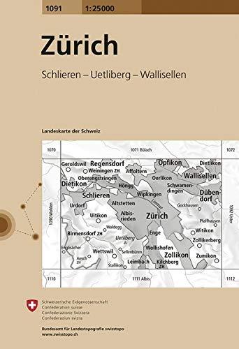 1091 Zürich: Schlieren - Uetliberg - Wallisellen (Landeskarte 1:25 000)