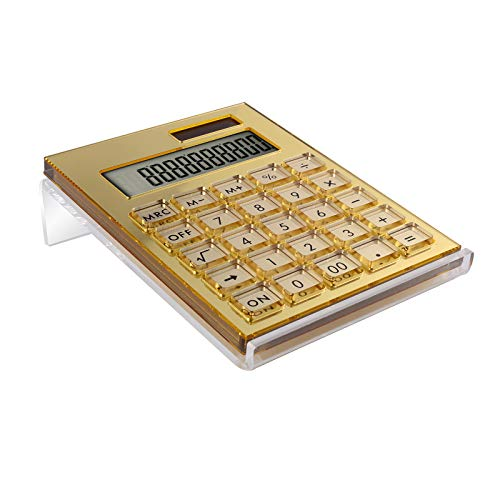 EXPUTRAN Acrylic Calculator with Stand, Battery and Solar Hybrid Powered Basic Calculator 12-Digit LCD Display,Home Office Desktop Accessories(Gold)