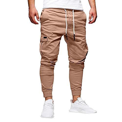 Pantalones de deporte de carga para hombre de moda de deporte de los hombres Festival de moda de color puro vendaje casual flojo pantalones con cordón pantalones, caqui, 3XL