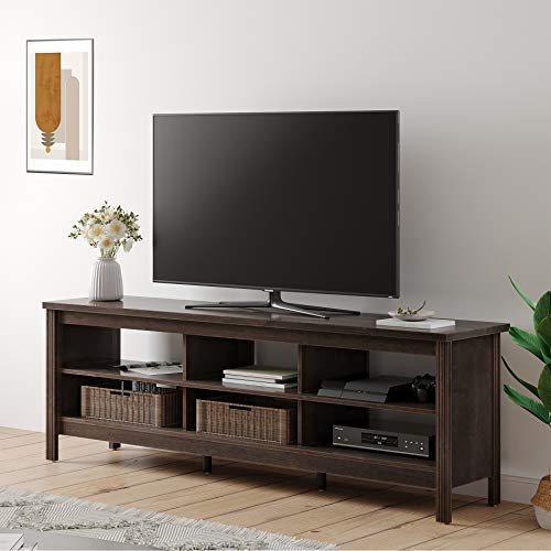 WAMPAT Farmhouse Wood TV Stand for 75 inch Flat Screen, Media Console Storage Cabinet, Entertainment Center for Living Room (Espresso, 70 inch)