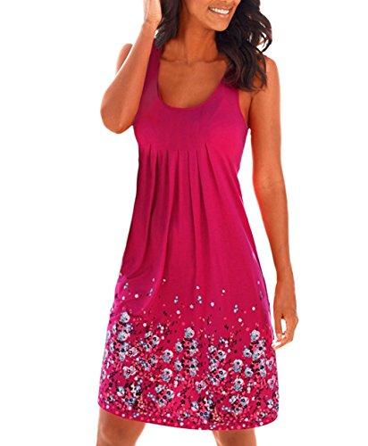 Lantch Damen Sommerkleid ohne ärmel Knielang Strandkleid Elegant Partykleid cocktailkleid Spitze Druck A-Linie Kleider, Rot , M