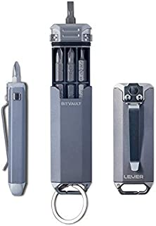 Lever Gear BitVault - Keychain Carry Case & Compact EDC Screwdriver. Waterproof Capsule Clips to Keychain, Belt or Pockets - Metallic Gray/Silver
