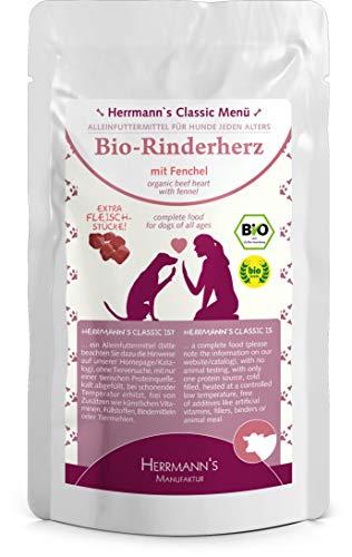 Herrmanns Rind Menu 2 mit Fenchel, Moehren, Leinoel 130g Bio Hundefutter, 12er Pack (12 x 0.13 kg)