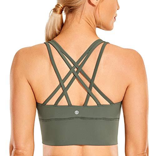 CRZ YOGA Strappy Sports Bras for Women Longline Wirefree Padded Medium Support Yoga Bra Top Grey Sage Medium