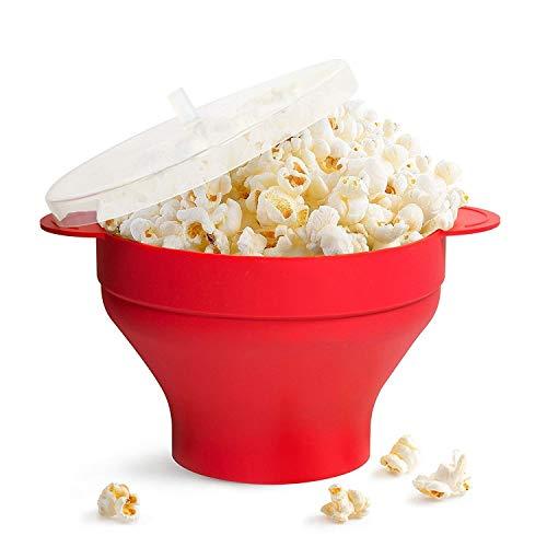 Gearmax Popcorn a Microonde Ciotola per Pop Corn in Silicone - Ciotola Pieghevole con Coperchio(Rosso)