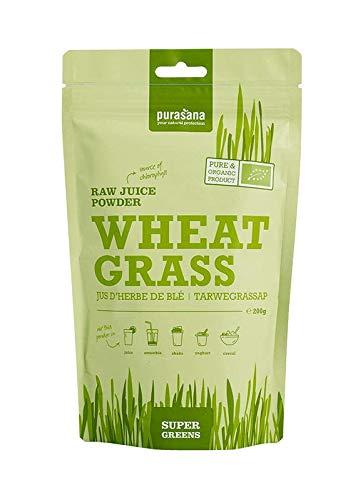 Purasana Bio Weizengras Saftpulver 200g vegan zertifizierte Spitzenqualität ohne Zusatzstoffe - als Trinkkost und Basenpulver 100% löslich