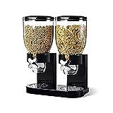 Dispensador de cereales doble transparente de cocina Recipiente de almacenamiento de alimentos secos de plástico negro, canistes transparentes blancos (7L)