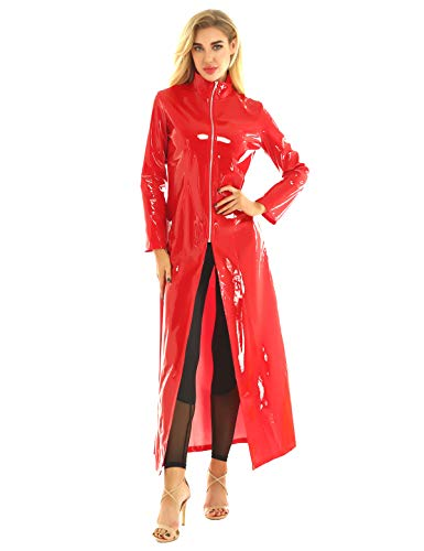 Freebily Unisex Lack Mantel Matrix Kostüm Damen Herren PVC Leder Trenchcoat Jacke Stehkragen mit Reißverschluss Sexy Kleid Wetlook Body Clubwear Rot XL