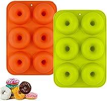 YIKEF Molde para Donut de Silicona, Juego de 2 Molde de Silicona para Hornear Donut, Antiadherente Molde de Silicona...