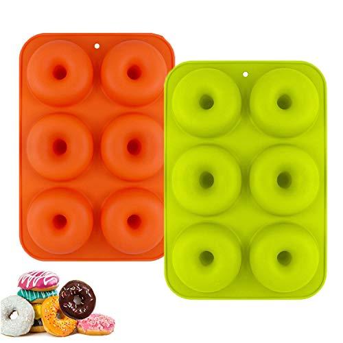 YIKEF Molde para Donut de Silicona, Juego de 2 Molde de Silicona para Hornear Donut, Antiadherente Molde de Silicona Apto para Lavavajillas, Horno, Microondas, Congelador (Orange)