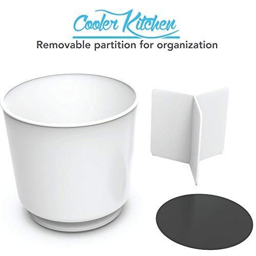 Extra Large Rotating Utensil Holder Caddy with Sturdy No-Tip Weighted Base, Removable Divider, and Gripped Insert: White | Rust Proof Plastic and Dishwasher Safe