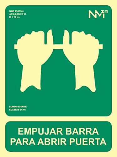 Señal Luminiscente RD14105   Empujar Barra Para Abrir Puerta  22,4x30