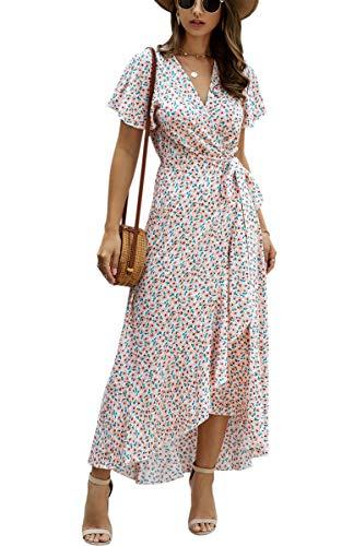 Spec4Y Damen Boho Lange Kleider V-Ausschnitt Sommerkleider Kurzarm Wickelkleid Maxikleid Strandkleid mit Schlitz 033Pink S