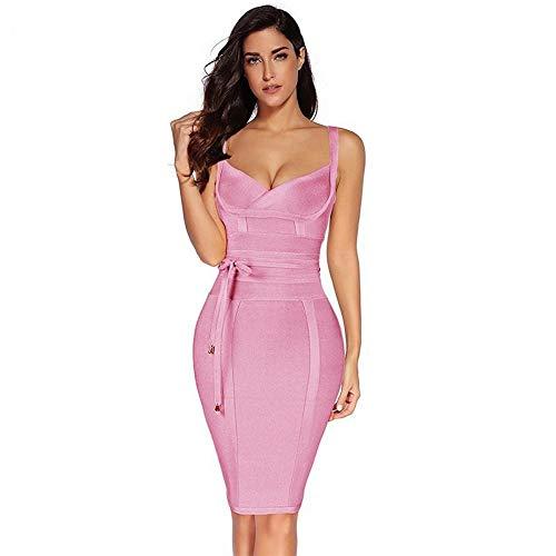 WDJYNL Kleid Kleid Damen Sommer Bandage Kleid Spaghetti Dress Der Spandex Frauen Abendkleid, L