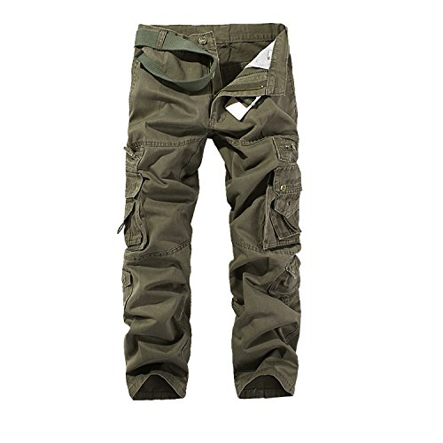 AYG Pantalon Cargo Hombre Mens Cargo Pants(Soil army green,29)