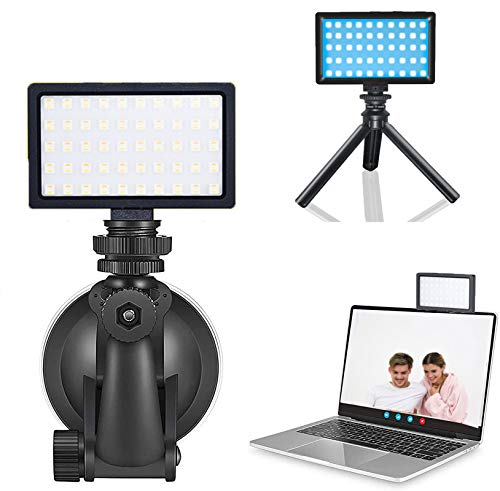 Luz de Video LED,Kit de luz de Conferencia para Ordenador portátil de sobremesa,RGB Luz de Video Portable 3200K-5600K CRI 95, Adecuado para Phone, iPhone, Android, iPad, Cámaras DSLR