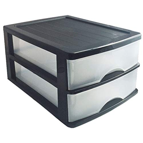 Plastic Forte Cajonera de sobremesa Negra 2 cajones Transparentes 18.5 x 26 x 35