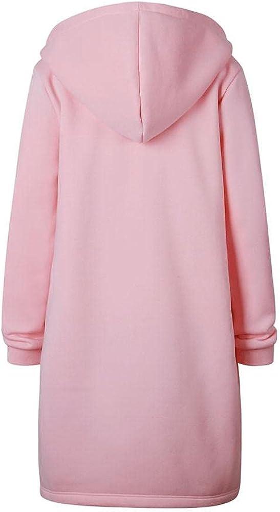 Women's Cardigans Hoodie Tops,Long Sleeve Zipper Hooded Top Cadigans,Ladies Solid Lightweight Coat Outerwear