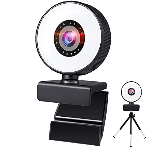 MOEGFY 1080P Streamcam Webcam Ringlicht Streaming Webcam facecam Mikrofon ringlicht Webkamera für YouTube, Gaming Twitch, PC, Vertikales Video in Full HD Ring Kamera USB streamcam