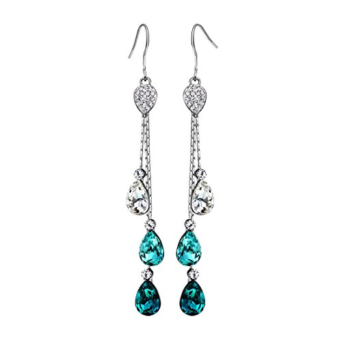 Neoglory Jewelry Teardrop Crystal Five Colors Drop Earrings Valentine's Day/Party/Birthday Gifts embellished with Crystals from Swarovski
