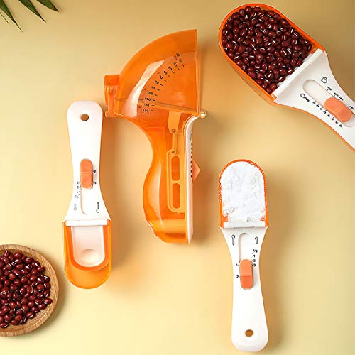 2 Piezas Juegos de Cucharas Medidoras,Tazas y Cucharas Medidoras Ajustable,Cucharas de Medición Cuchara Dosificadora Plastico Medidores Cocina para Medir Líquidos y Los Ingredientes Secos (Naranja)