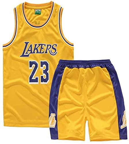 YCJL Camiseta De Baloncesto Camiseta De La Lebron James # 23 Lakers Camiseta Y Pantalones Cortos De Baloncesto Traje De Jersey para Niños, Traje Deportivo De Malla Transpirable,Amarillo,2XL:16