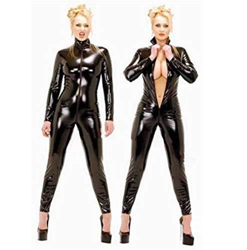 SMGZC Sexy Mujeres Aspecto Mojado Negro Cuero Catsuit Body PVC Brillante Mono Látex Playsuit Cremallera Entrepierna Abierta Noche Club Etapa DS Ropa (4XL)