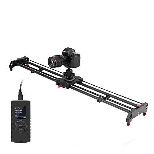 GVM 120cm Kamera Slider Motorisiert, Kameraschiene,Videoschiene Rail Slider Dolly Track, Zeitraffer, Follow Focus,Tracking und Panorama Aufnahmefunktion für Video Fotografie Schiene, Camera Slider