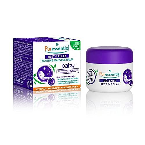 Puressentiel - Sommeil Détente - Baume de Massage Calmant Bébé - Aux 3 huiles essentielles - Formule 100% d'origine naturelle - Pour relaxer, apaiser et hydrater bébé - 30 ml