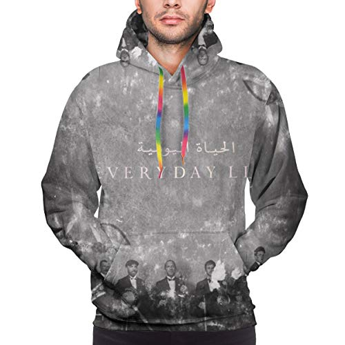 GJINNANFANGBEN Herren Coldplay Soft Everyday Life Long Sleeve Big Pockets Keep Warm Kapuzenpullover Sweatshirts Black XXL