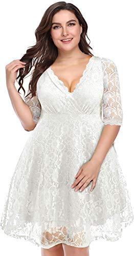 Women Lace V Neck Plus Size Wedding Dress White Bridal Shower Cocktail Ivory Bride Short Evening Semi-Formal Dresses