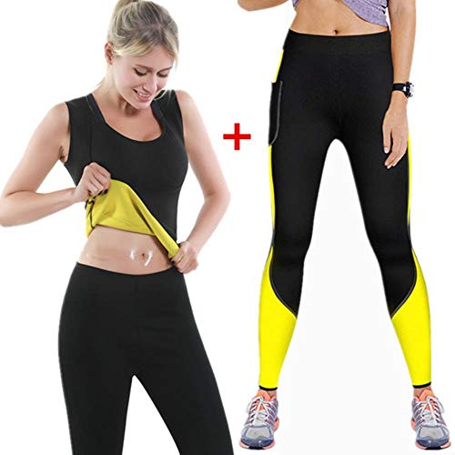 WXCL Training Fitness Shapewear Ladies Vest Suit Shapewear Sweat Steaming Sauna Slimming Shirt Waist Heat Slimming Shaping Pants Slimming Pants,1set,XXL