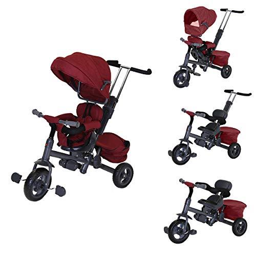 Charles Bentley Trikestar niños Triciclo 3 en 1 con Asiento Reversible - Rojo
